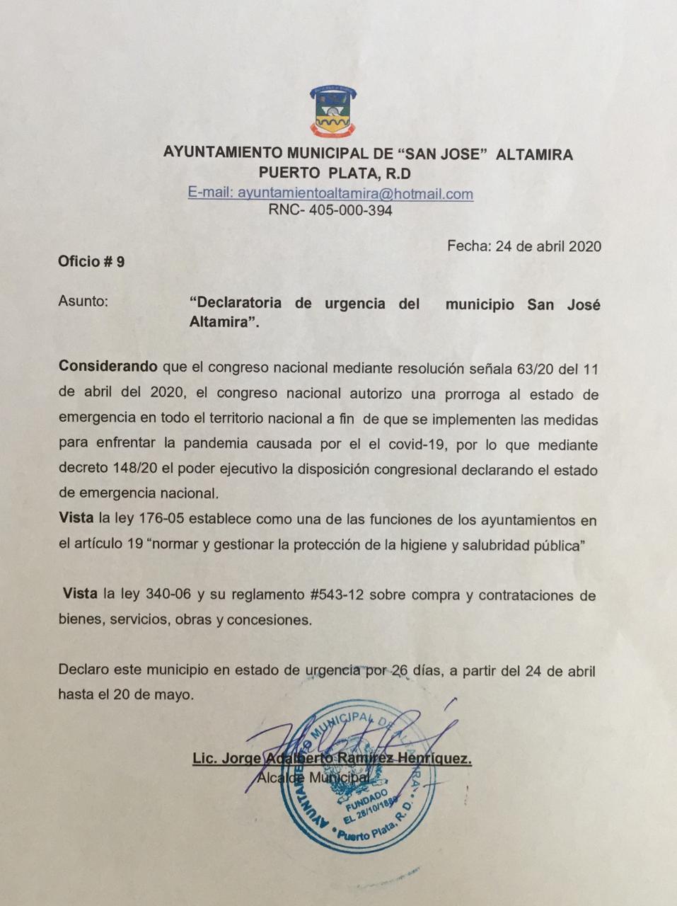 Decreto de Urgencia del Municipio San Jose Altamira